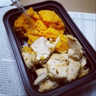 GARLIC HERB BAKED CHICKEN BREAST WITH MASHED SWEET POTATOES